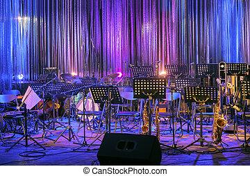 hoja, listo, música, o, fiesta, concierto, jazz, colorido, musical, posición, en línea, etapa, acontecimiento, vacío, orchestra., lighting., roca, instrumentos, vivo, performace