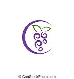 hoja, logotipo, vector, uva