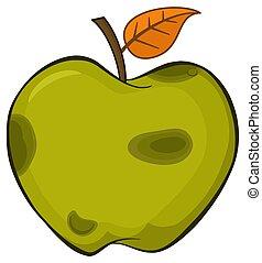 hoja, manzana, simple, caricatura, podrido, fruta, verde, diseño, dibujo