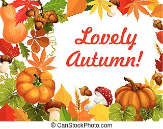 hoja, marco, cartel, otoño, diseño, otoño, calabaza
