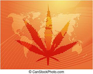 hoja, marijuana, ilustración