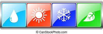 hoja, metal, sol, gota, copo de nieve, fondo