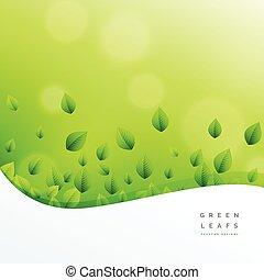 hoja, naturaleza, ecofriendly, vector, fondo verde