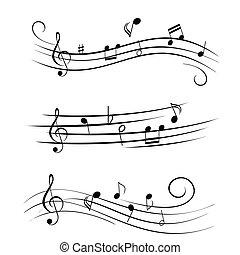 hoja, notas, música, musical