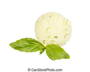 hoja, pala, cima, hielo, pistacho, plano de fondo, blanco, menta, crema