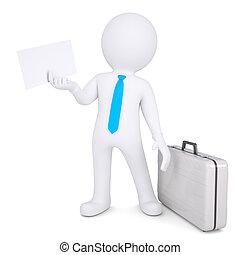 hoja, papel, tenencia, maleta, 3d, hombre
