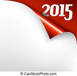 hoja, -, papel, vector, año, 2015, nuevo, rizo, tarjeta de...