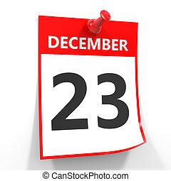 hoja, pin., 23, diciembre, calendario, rojo