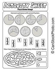 hoja, pizza, actividad, tema, 1