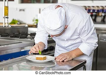 hoja, postre, chef, adornar, profesional, pastel, limón