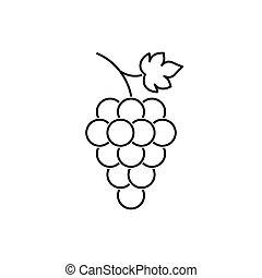 hoja, ramo, uvas, fruta, icono, su, diseño