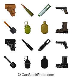 hoja, sapper, estilo, conjunto, ejército, símbolo, iconos,...