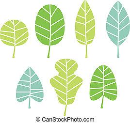 hojas, árbol, aislado, colección, verde blanco
