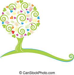 hojas, árbol, manos