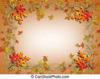 hojas, acción de gracias, otoño