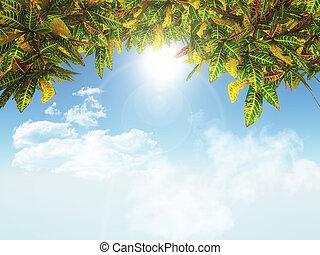 hojas azules, cielo, plano de fondo, 3d