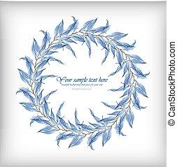 hojas azules, vector, acuarela, marco