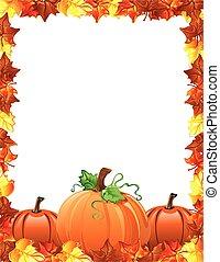 hojas, calabazas, frontera, otoño