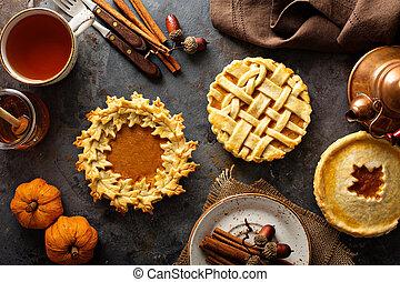 hojas, casero, otoño, adornado, pasteles, calabaza