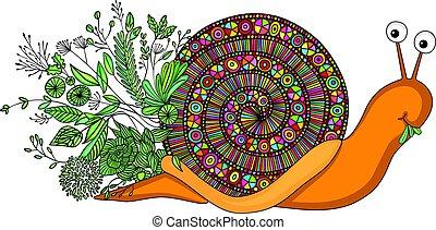 hojas, coloreado, comida, caracol