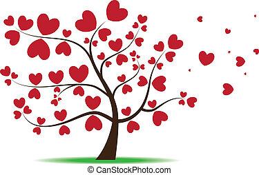 hojas, corazón, amor, árbol, rojo