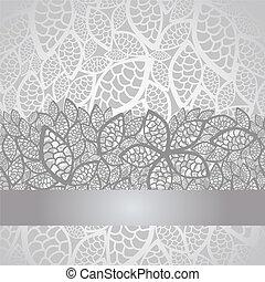 hojas, cubierta, encaje, plata, lujo