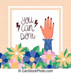hojas, empowerment, mano, vector, diseño, flores, mujeres