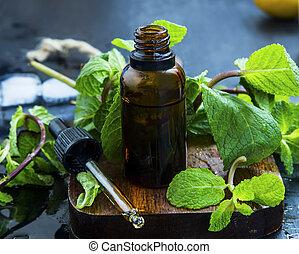 hojas, esencial, botella, menta, fresco, marrón, cuentagotas, aceite, medicina herbaria, vidrio, aceite