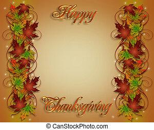 hojas, frontera, acción de gracias, otoño