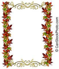 hojas, frontera, otoño, marco, otoño