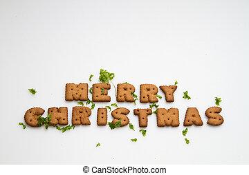 hojas, galletas, navidad, alegre