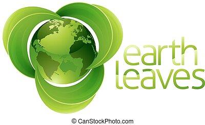 hojas, globo, tierra, concepto