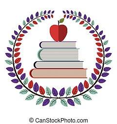 hojas, libros de la escuela, corona, manzana