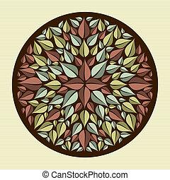 hojas, mandala, yoga