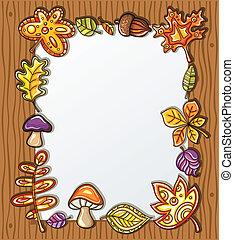 hojas, marco, vector, otoñal