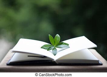 hojas, o, cuaderno, plano de fondo, neture, libro