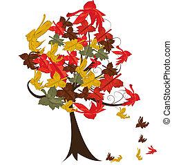 hojas, otoño, árbol, resumen