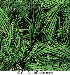hojas, papel pintado, palma, seamless, árboles