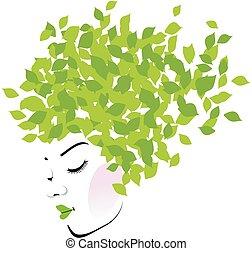 hojas, pelo, verde