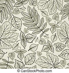 hojas, plano de fondo, otoño, seamless