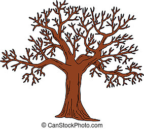 hojas, sin, árbol
