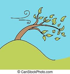 hojas, soplado, de, árbol, en, un, día ventoso
