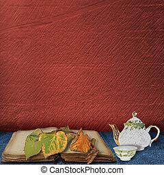 hojas, tabla, libro, taza, viejo, tetera, té