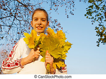 hojas, tiempo, niña, otoño