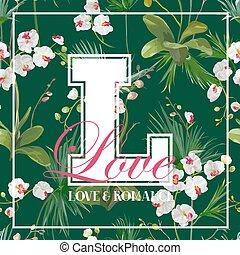 hojas, tshirt, vector, orquídea, tropical, palma, flores, diseño gráfico, fondo.