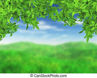 hojas, verde, herboso, paisaje, 3d