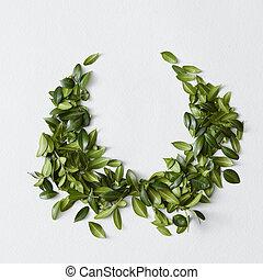 hojas verdes, agradable, ornamento, muchos