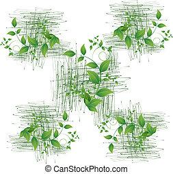 hojas verdes, seamless, plano de fondo