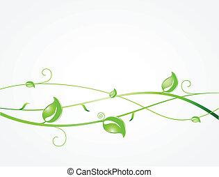 hojas verdes, y, butterflies., ecológico, vector