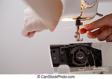 hojassueltas, niña, sewing-machine, hilo
